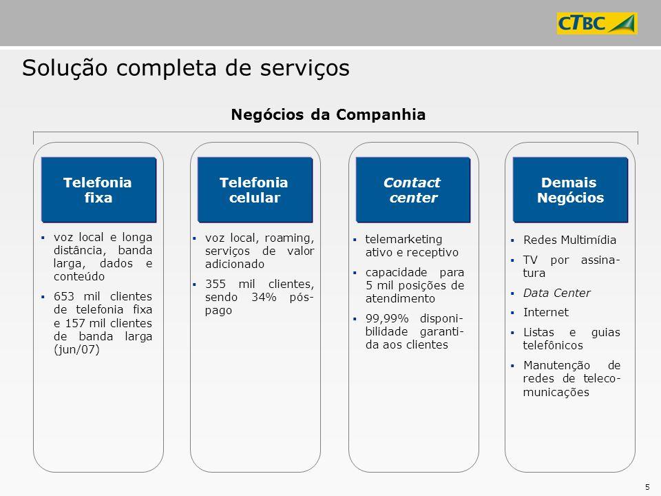 5 Solução completa de serviços voz local e longa distância, banda larga, dados e conteúdo 653 mil clientes de telefonia fixa e 157 mil clientes de ban