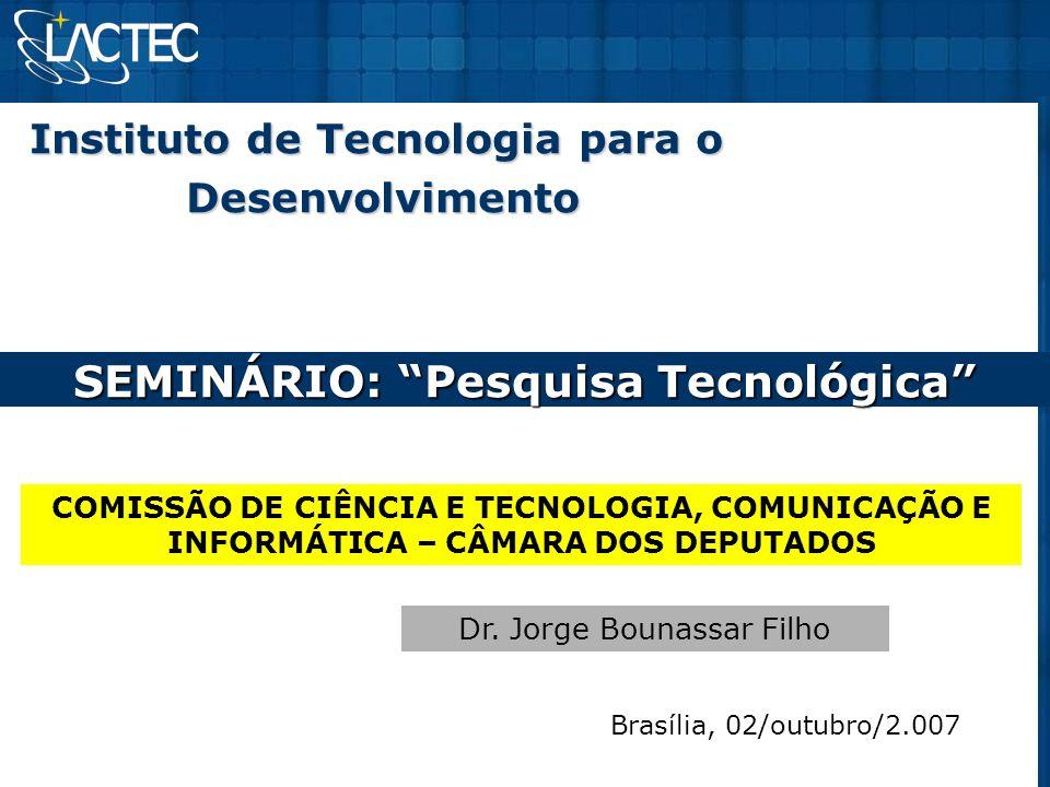 INOVAÇÃO TECNOLÓGICA Gestão da inovação Estrutura organizacional dos IPTs – NITs: - observatório; - gestão de propriedade intelectual (patentes); - comissão institucional de C&T; - capacitação de gestores – programas de qualidade; - setor de relacionamento com a indústria.