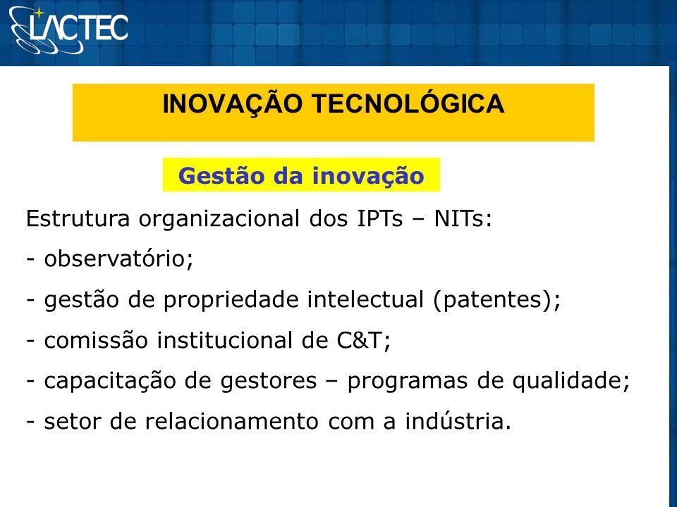 INOVAÇÃO TECNOLÓGICA Gestão da inovação Estrutura organizacional dos IPTs – NITs: - observatório; - gestão de propriedade intelectual (patentes); - co