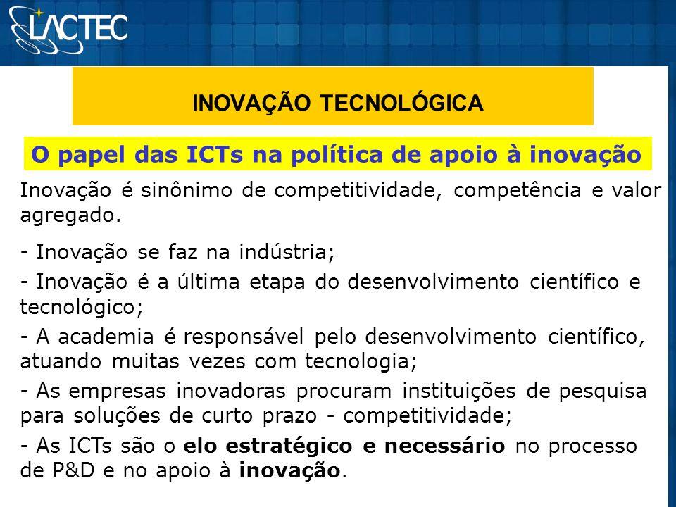 INOVAÇÃO TECNOLÓGICA O papel das ICTs na política de apoio à inovação Inovação é sinônimo de competitividade, competência e valor agregado. - Inovação