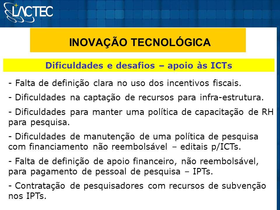 INOVAÇÃO TECNOLÓGICA Dificuldades e desafios – apoio às ICTs - Falta de definição clara no uso dos incentivos fiscais. - Dificuldades na captação de r