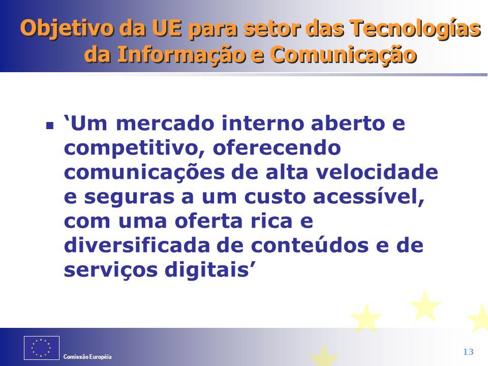 Comissão Européia 13 Objetivo da UE para setor das Tecnologías da Informação e Comunicação Um mercado interno aberto e competitivo, oferecendo comunic