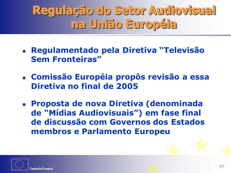Comissão Européia 27 Regulação do Setor Audiovisual na União Européia Regulamentado pela Diretiva Televisão Sem Fronteiras Comissão Européia propôs re