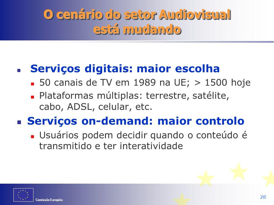 Comissão Européia 28 O cenário do setor Audiovisual está mudando Serviços digitais: maior escolha 50 canais de TV em 1989 na UE; > 1500 hoje Plataform