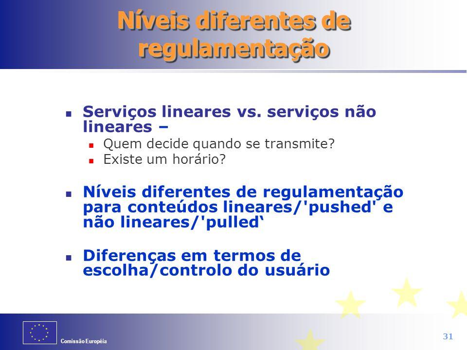 Comissão Européia 31 Níveis diferentes de regulamentação Serviços lineares vs. serviços não lineares – Quem decide quando se transmite? Existe um horá