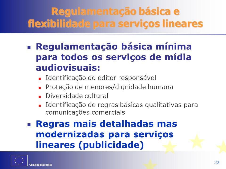 Comissão Européia 32 Regulamentação básica mínima para todos os serviços de mídia audiovisuais: Identificação do editor responsável Proteção de menore