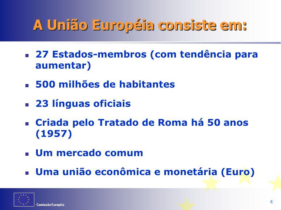 Comissão Européia Orgão Executivo da União Européia (UE) Propôe legislação que é posteriormente discutida com os governos dos Estados- membros e com o Parlamento Europeu Supervisiona a aplicação das leis e políticas da UE nos Estados-membros.