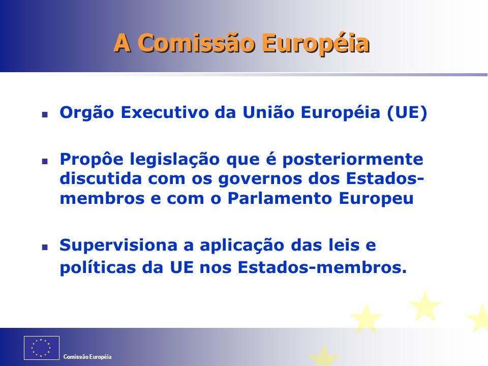 Comissão Européia Orgão Executivo da União Européia (UE) Propôe legislação que é posteriormente discutida com os governos dos Estados- membros e com o