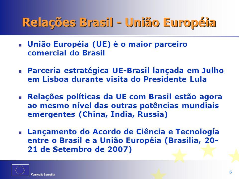 Comissão Européia 6 Relações Brasil - União Européia União Européia (UE) é o maior parceiro comercial do Brasil Parceria estratégica UE-Brasil lançada