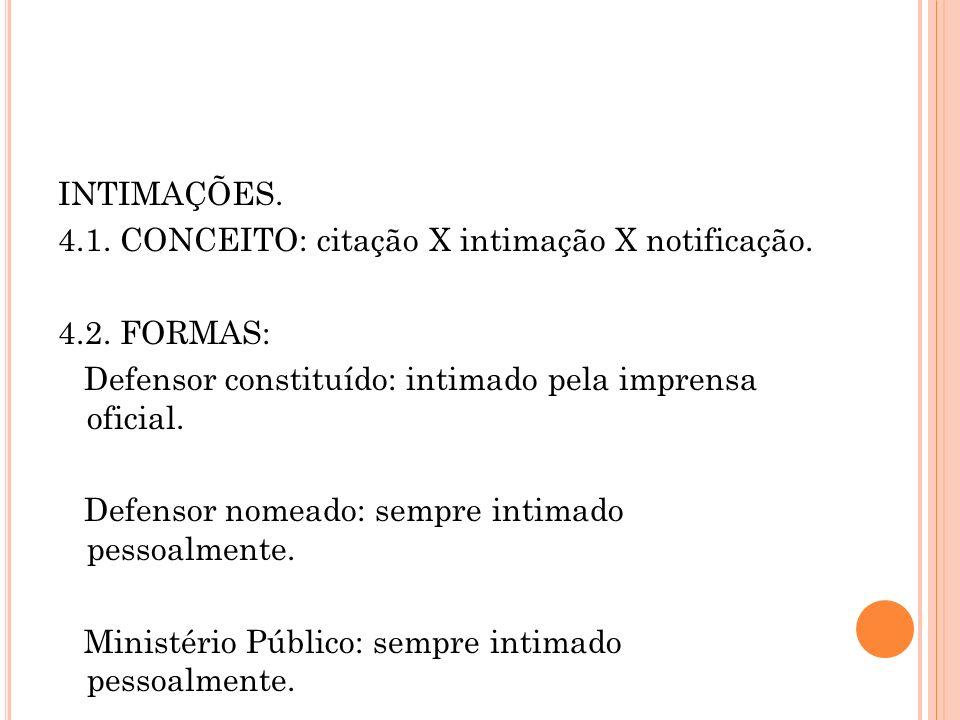 INTIMAÇÕES. 4.1. CONCEITO: citação X intimação X notificação. 4.2. FORMAS: Defensor constituído: intimado pela imprensa oficial. Defensor nomeado: sem