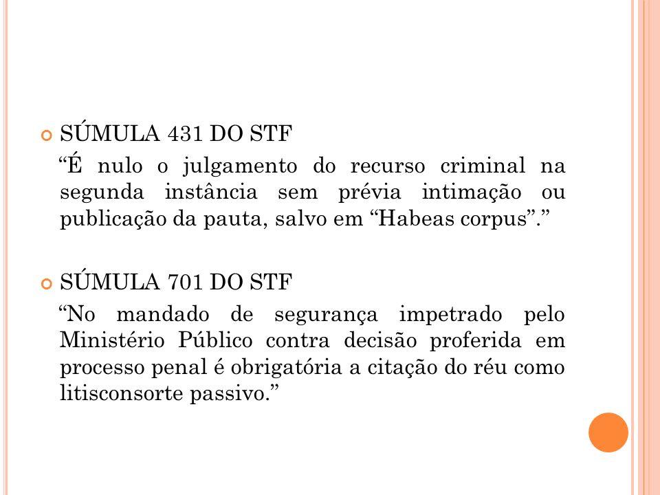 SÚMULA 431 DO STF É nulo o julgamento do recurso criminal na segunda instância sem prévia intimação ou publicação da pauta, salvo em Habeas corpus. SÚ