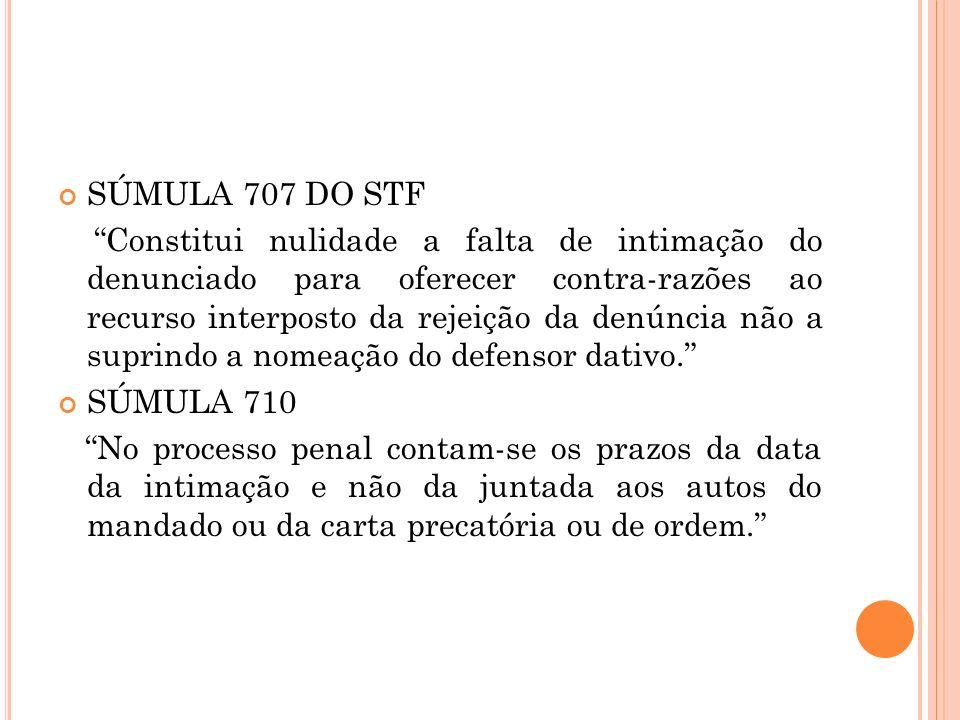 SÚMULA 707 DO STF Constitui nulidade a falta de intimação do denunciado para oferecer contra-razões ao recurso interposto da rejeição da denúncia não