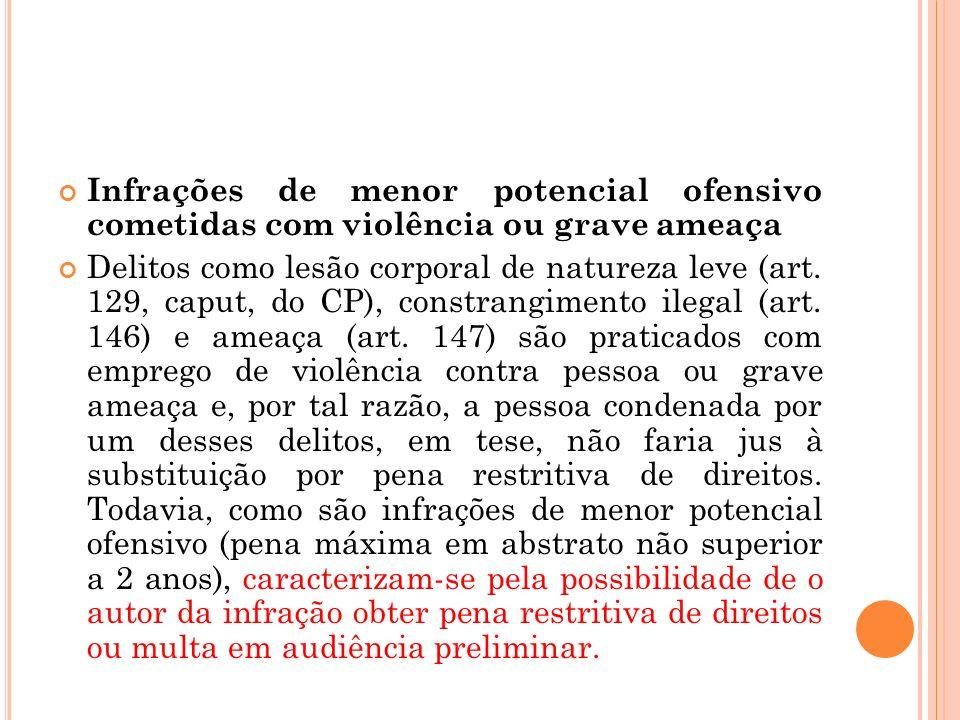 Infrações de menor potencial ofensivo cometidas com violência ou grave ameaça Delitos como lesão corporal de natureza leve (art. 129, caput, do CP), c