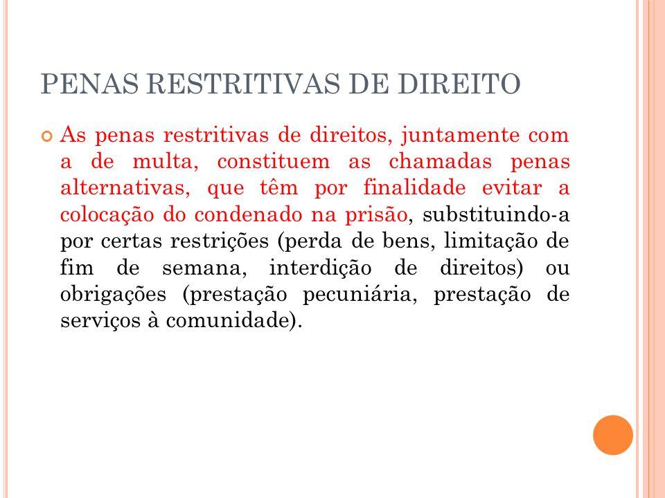PENA DE MULTA É uma modalidade de sanção de caráter patrimonial consistente na entrega de dinheiro ao fundo penitenciário.