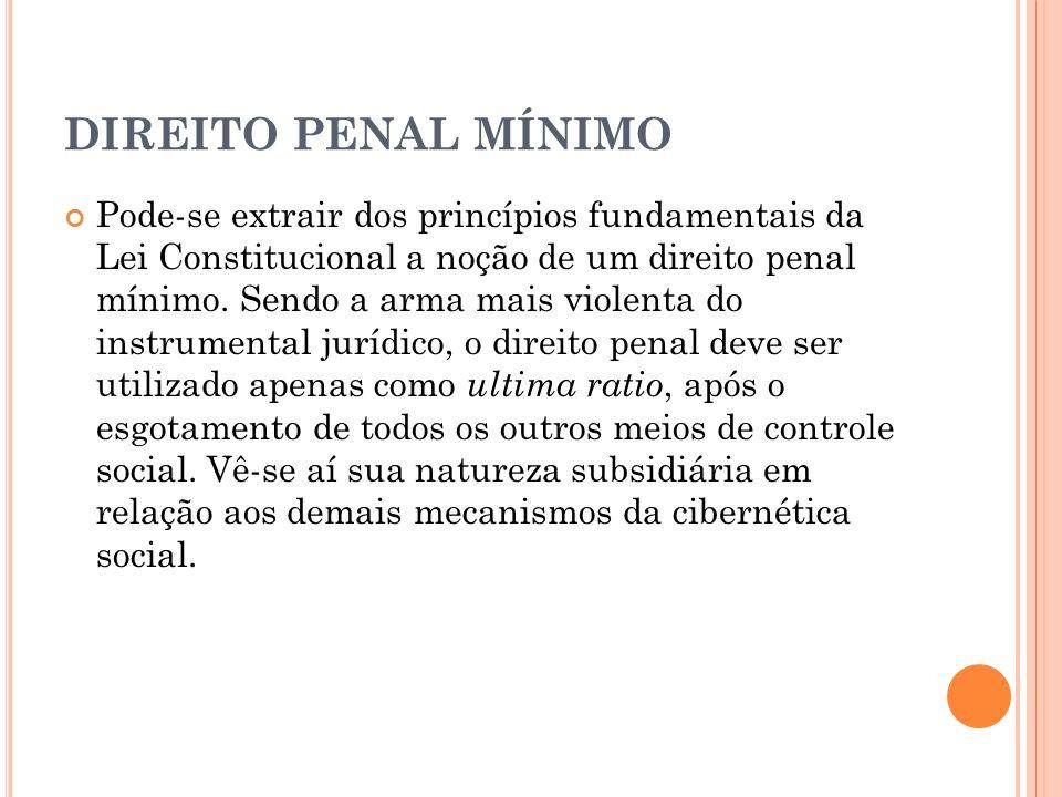 DIREITO PENAL MÍNIMO Pode-se extrair dos princípios fundamentais da Lei Constitucional a noção de um direito penal mínimo. Sendo a arma mais violenta