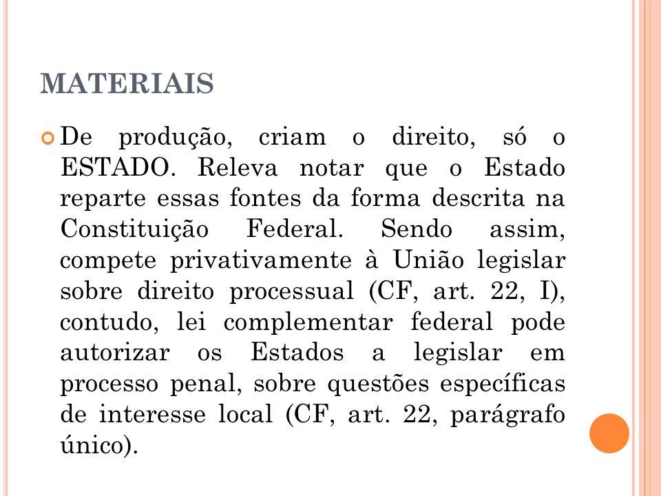 MATERIAIS De produção, criam o direito, só o ESTADO. Releva notar que o Estado reparte essas fontes da forma descrita na Constituição Federal. Sendo a
