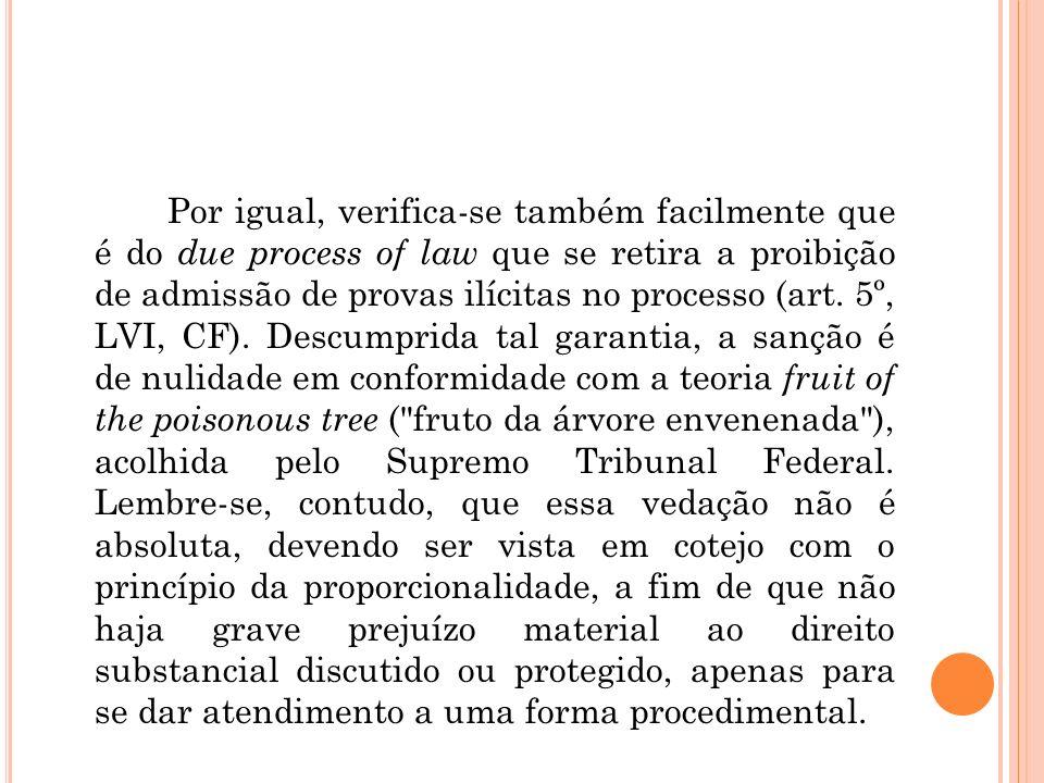 Por igual, verifica-se também facilmente que é do due process of law que se retira a proibição de admissão de provas ilícitas no processo (art. 5º, LV