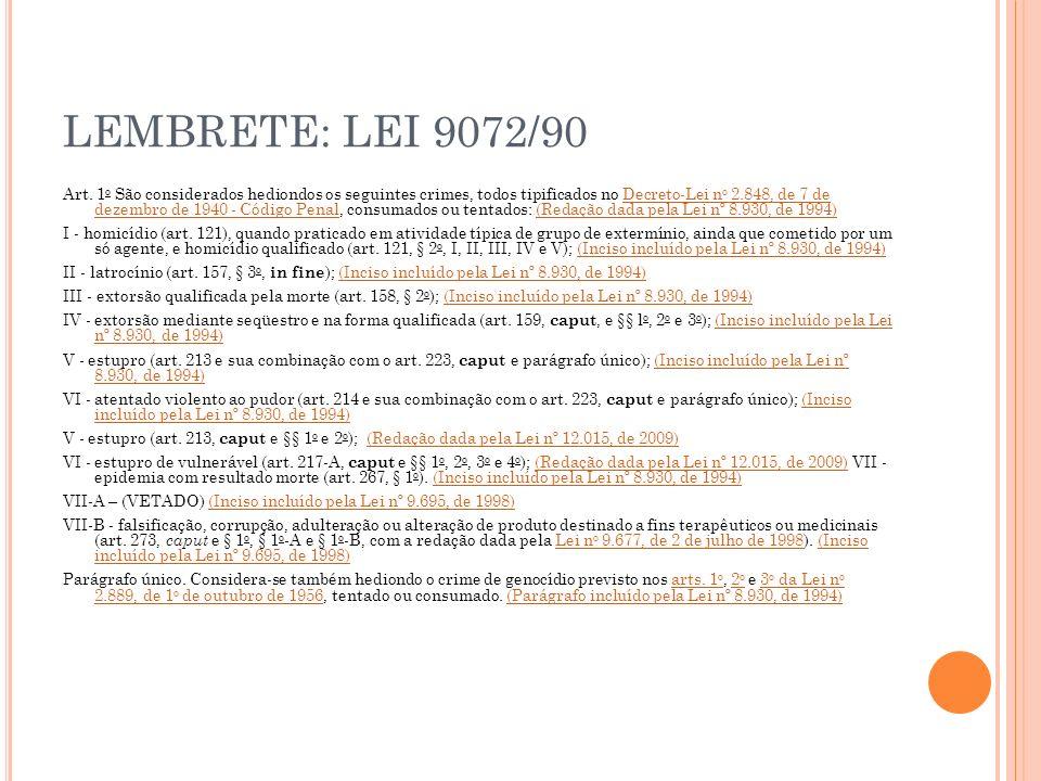 LEMBRETE: LEI 9072/90 Art. 1 o São considerados hediondos os seguintes crimes, todos tipificados no Decreto-Lei n o 2.848, de 7 de dezembro de 1940 -