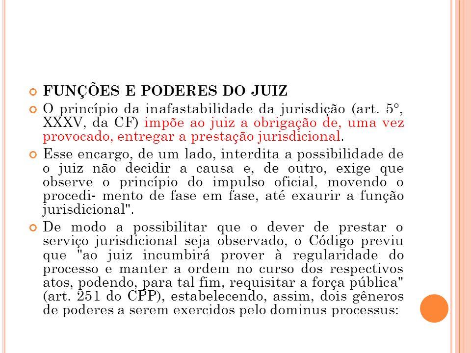 FUNÇÕES E PODERES DO JUIZ O princípio da inafastabilidade da jurisdição (art. 5°, XXXV, da CF) impõe ao juiz a obrigação de, uma vez provocado, entreg