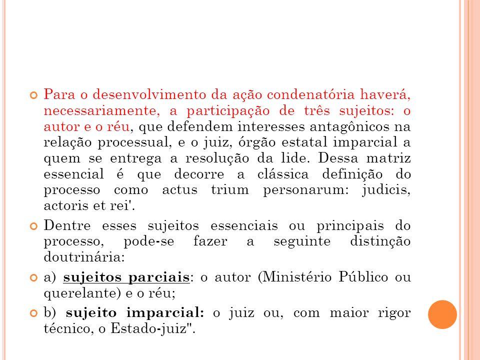 Para o desenvolvimento da ação condenatória haverá, necessariamente, a participação de três sujeitos: o autor e o réu, que defendem interesses antagôn