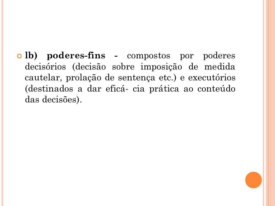 lb) poderes-fins - compostos por poderes decisórios (decisão sobre imposição de medida cautelar, prolação de sentença etc.) e executórios (destinados