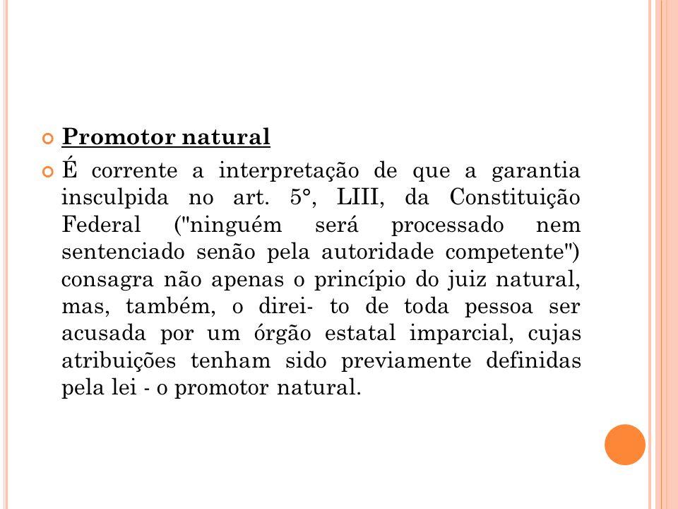 Promotor natural É corrente a interpretação de que a garantia insculpida no art. 5°, LIII, da Constituição Federal (