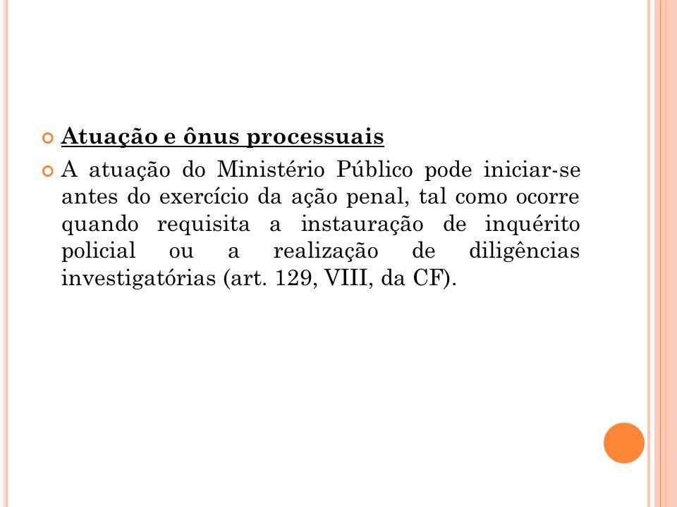 Atuação e ônus processuais A atuação do Ministério Público pode iniciar-se antes do exercício da ação penal, tal como ocorre quando requisita a instau