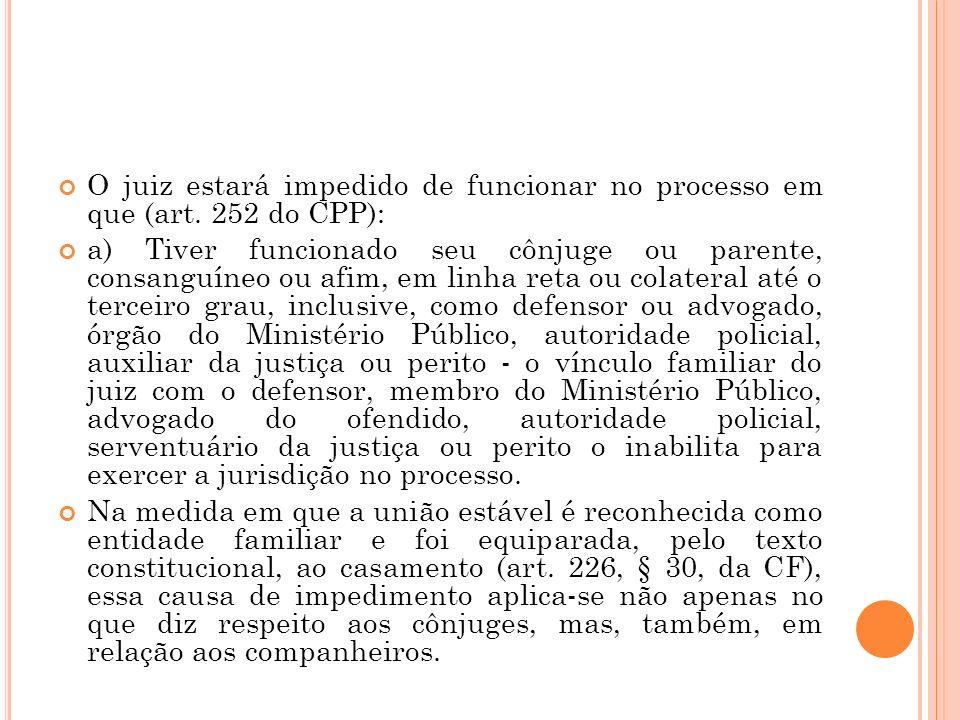 O juiz estará impedido de funcionar no processo em que (art. 252 do CPP): a) Tiver funcionado seu cônjuge ou parente, consanguíneo ou afim, em linha r