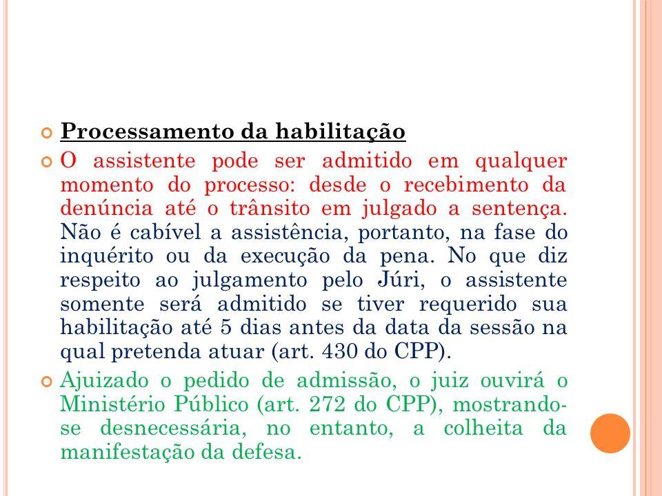 Processamento da habilitação O assistente pode ser admitido em qualquer momento do processo: desde o recebimento da denúncia até o trânsito em julgado