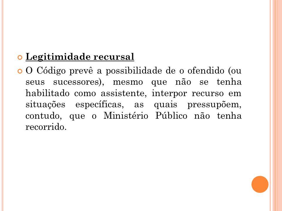 Legitimidade recursal O Código prevê a possibilidade de o ofendido (ou seus sucessores), mesmo que não se tenha habilitado como assistente, interpor r