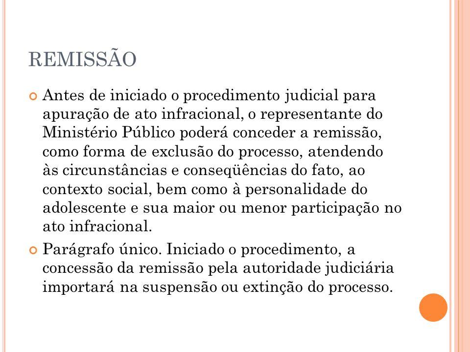 REMISSÃO Antes de iniciado o procedimento judicial para apuração de ato infracional, o representante do Ministério Público poderá conceder a remissão,