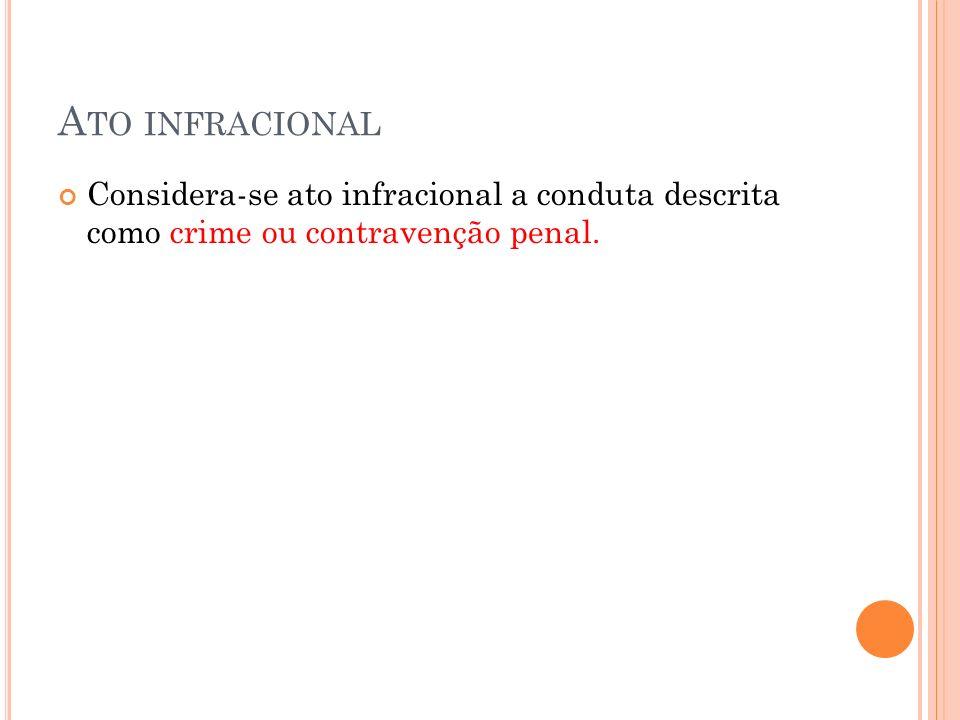 A TO INFRACIONAL Considera-se ato infracional a conduta descrita como crime ou contravenção penal.