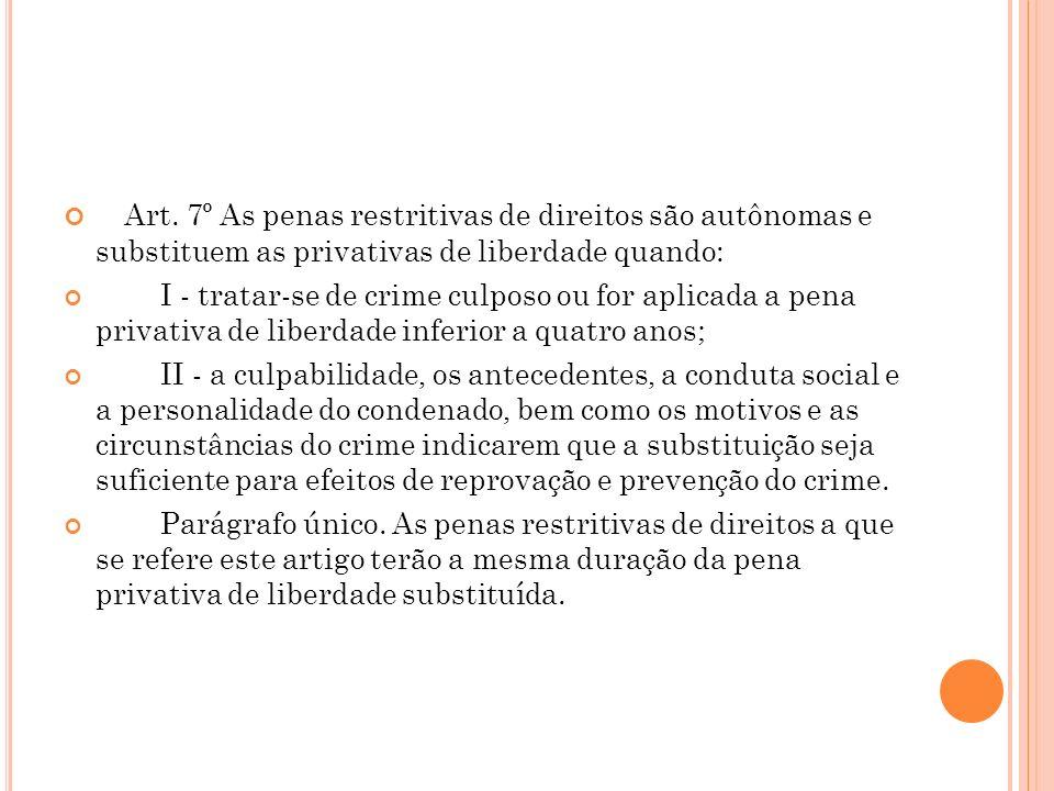 Art. 7º As penas restritivas de direitos são autônomas e substituem as privativas de liberdade quando: I - tratar-se de crime culposo ou for aplicada