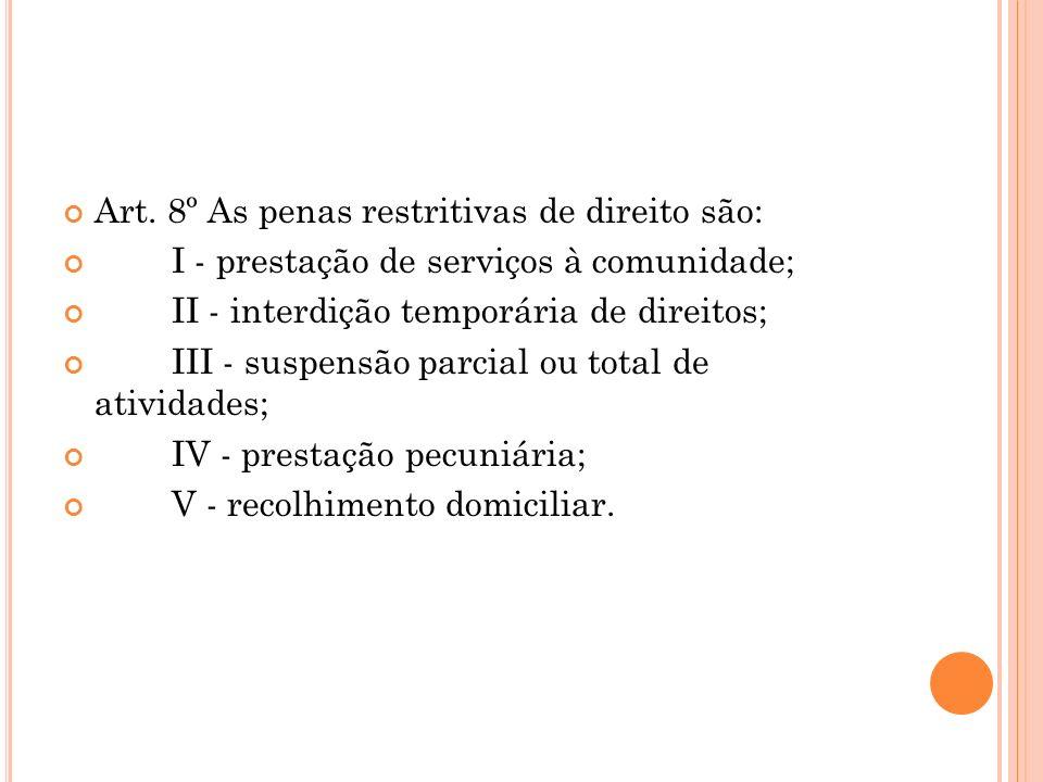 Art. 8º As penas restritivas de direito são: I - prestação de serviços à comunidade; II - interdição temporária de direitos; III - suspensão parcial o