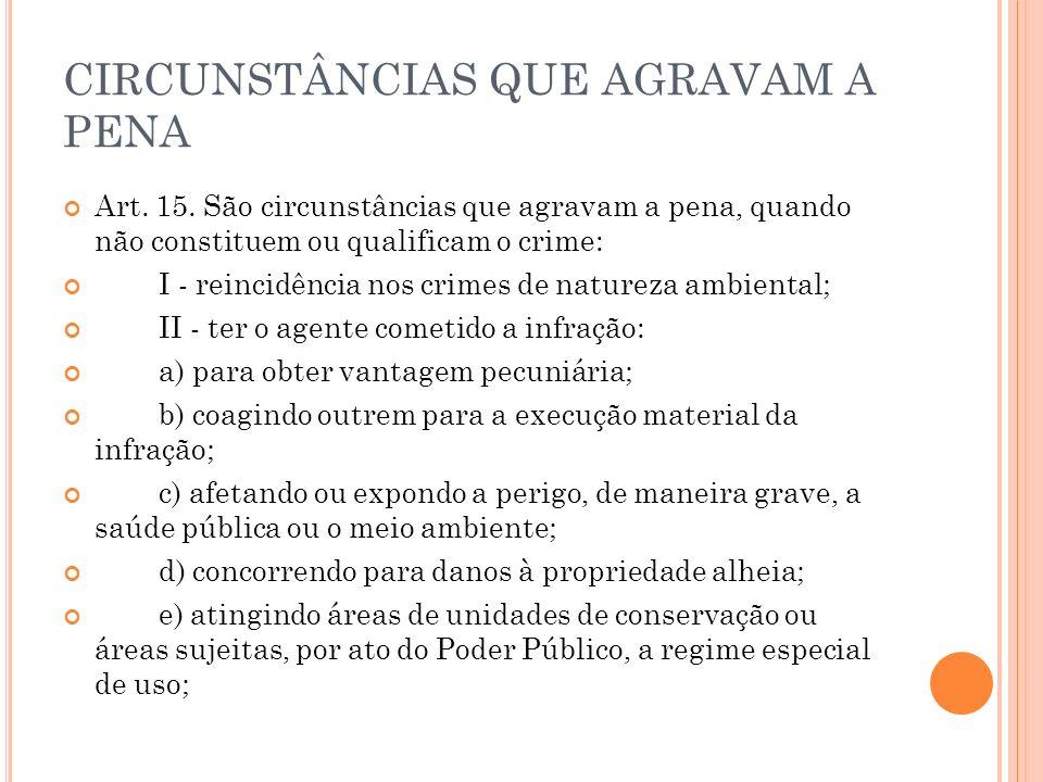 CIRCUNSTÂNCIAS QUE AGRAVAM A PENA Art. 15. São circunstâncias que agravam a pena, quando não constituem ou qualificam o crime: I - reincidência nos cr