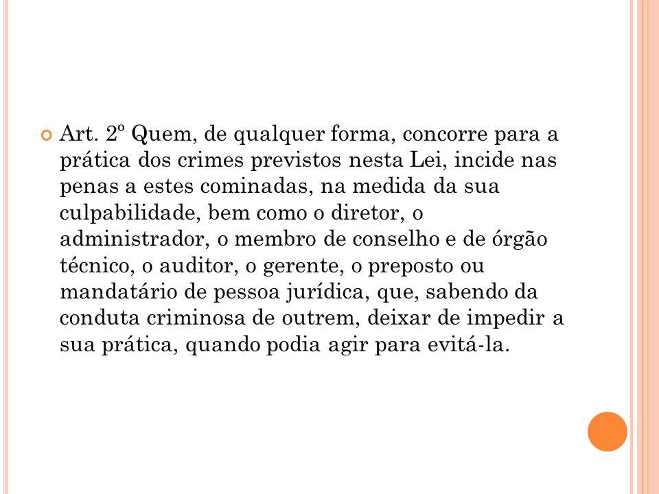Art. 2º Quem, de qualquer forma, concorre para a prática dos crimes previstos nesta Lei, incide nas penas a estes cominadas, na medida da sua culpabil