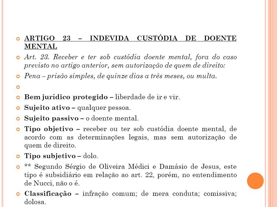 ARTIGO 23 – INDEVIDA CUSTÓDIA DE DOENTE MENTAL Art. 23. Receber e ter sob custódia doente mental, fora do caso previsto no artigo anterior, sem autori