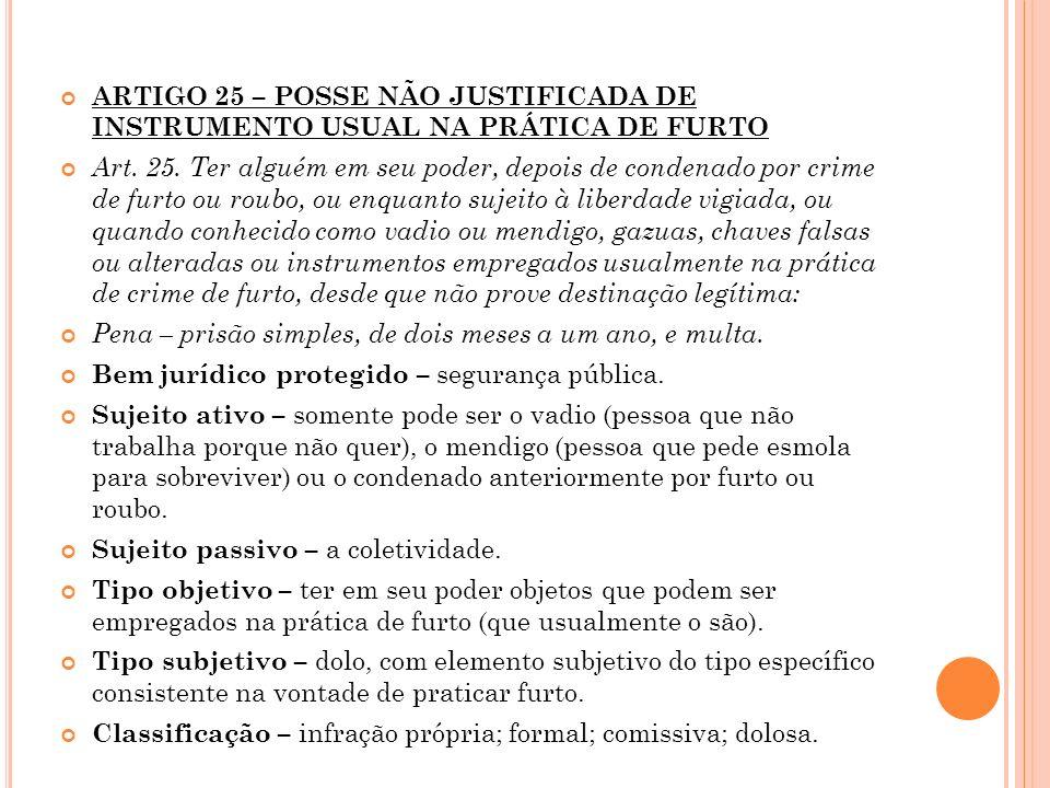 ARTIGO 25 – POSSE NÃO JUSTIFICADA DE INSTRUMENTO USUAL NA PRÁTICA DE FURTO Art. 25. Ter alguém em seu poder, depois de condenado por crime de furto ou