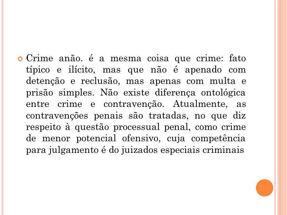 Crime anão. é a mesma coisa que crime: fato típico e ilícito, mas que não é apenado com detenção e reclusão, mas apenas com multa e prisão simples. Nã