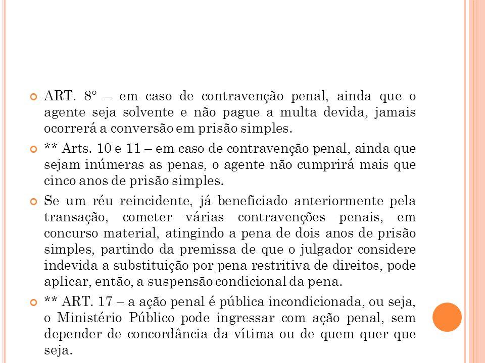ART. 8° – em caso de contravenção penal, ainda que o agente seja solvente e não pague a multa devida, jamais ocorrerá a conversão em prisão simples. *