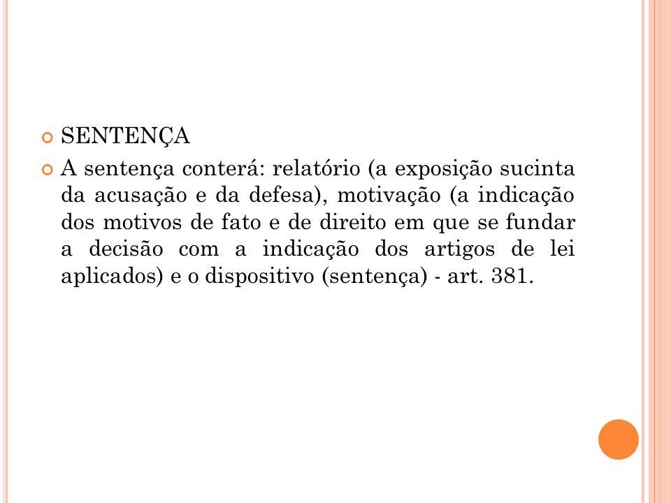SENTENÇA A sentença conterá: relatório (a exposição sucinta da acusação e da defesa), motivação (a indicação dos motivos de fato e de direito em que s