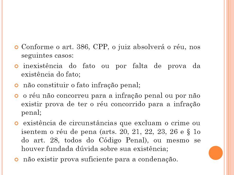 Conforme o art. 386, CPP, o juiz absolverá o réu, nos seguintes casos: inexistência do fato ou por falta de prova da existência do fato; não constitui