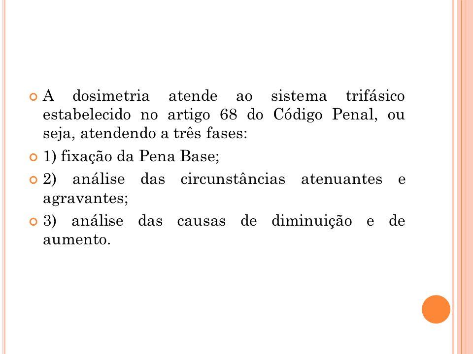A dosimetria atende ao sistema trifásico estabelecido no artigo 68 do Código Penal, ou seja, atendendo a três fases: 1) fixação da Pena Base; 2) análi