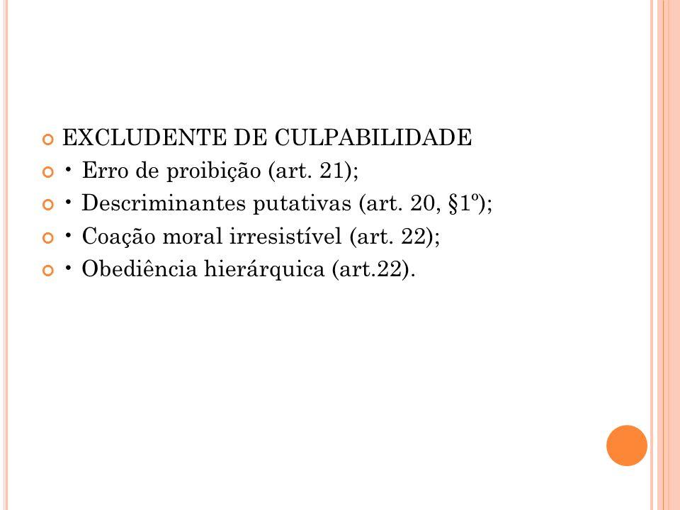 EXCLUDENTE DE CULPABILIDADE Erro de proibição (art. 21); Descriminantes putativas (art. 20, §1º); Coação moral irresistível (art. 22); Obediência hier