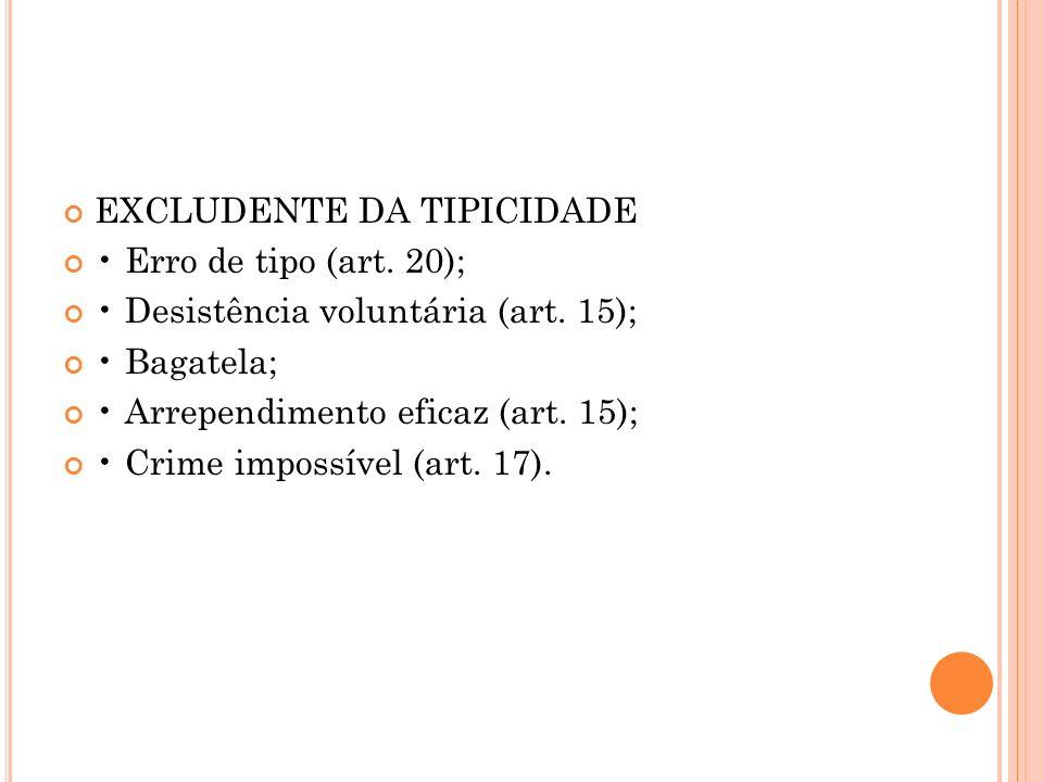 EXCLUDENTE DA TIPICIDADE Erro de tipo (art. 20); Desistência voluntária (art. 15); Bagatela; Arrependimento eficaz (art. 15); Crime impossível (art. 1