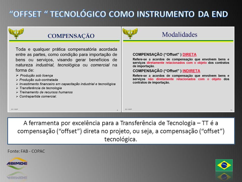 A ferramenta por excelência para a Transferência de Tecnologia – TT é a compensação (offset) direta no projeto, ou seja, a compensação (offset) tecnol