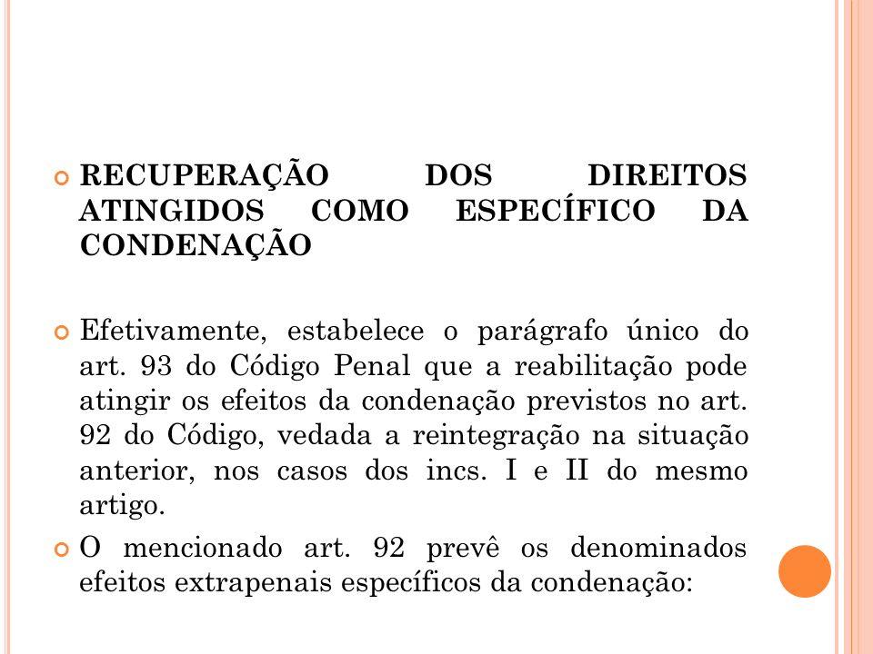 RECUPERAÇÃO DOS DIREITOS ATINGIDOS COMO ESPECÍFICO DA CONDENAÇÃO Efetivamente, estabelece o parágrafo único do art. 93 do Código Penal que a reabilita