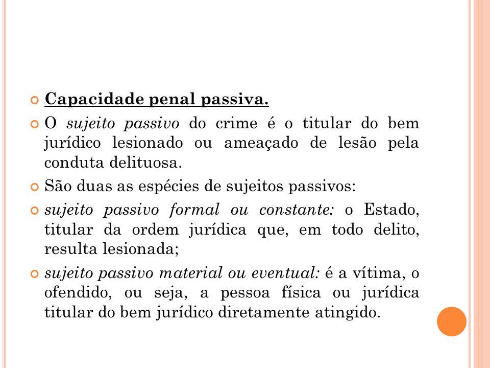 Capacidade penal passiva. O sujeito passivo do crime é o titular do bem jurídico lesionado ou ameaçado de lesão pela conduta delituosa. São duas as es