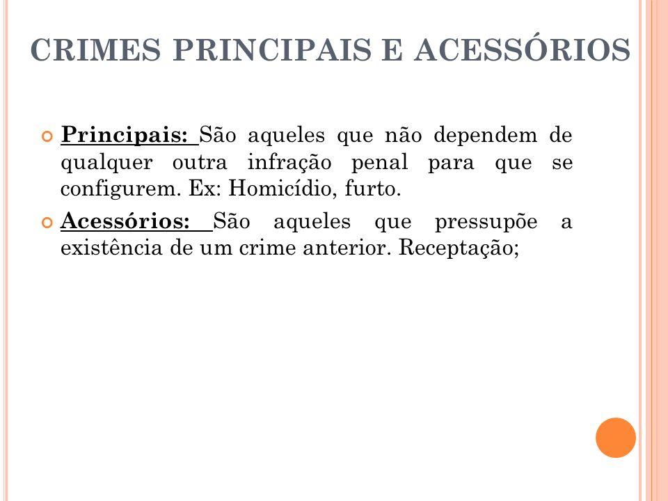 CRIMES PRINCIPAIS E ACESSÓRIOS Principais: São aqueles que não dependem de qualquer outra infração penal para que se configurem. Ex: Homicídio, furto.