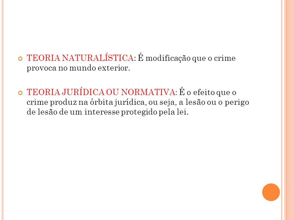TEORIA NATURALÍSTICA: É modificação que o crime provoca no mundo exterior. TEORIA JURÍDICA OU NORMATIVA: É o efeito que o crime produz na órbita juríd
